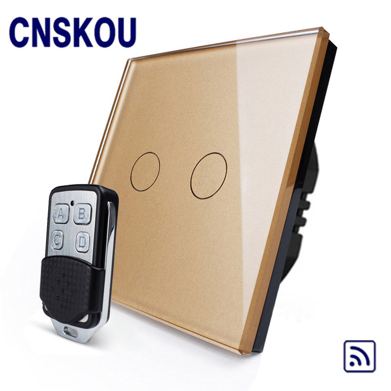 CNSKOU EU Standard 2 Gang 1 Way AC220~250V Glass Panel Backlight 433MHZ Remote Control Wall Touch Dimmer Switch For Led Lights vhome eu uk smart home dimmer switch glass panel wall light wall touch dimmer switch for dimmable spot lights rf 433mhz remote