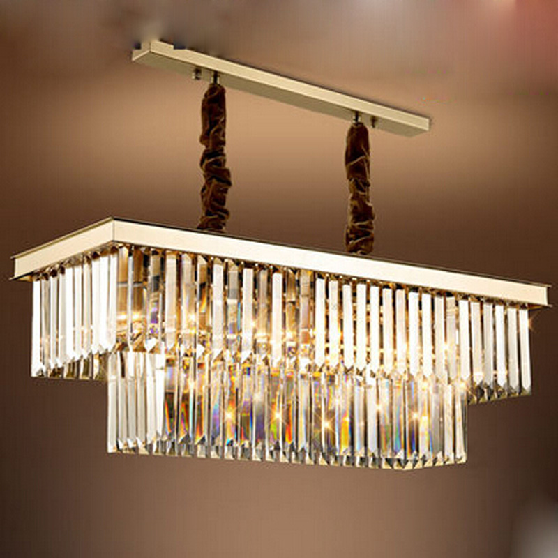 Z Modern E14 Crystal Chandelier Rectangle Design Restaurant Lamp Dining Room Ceiling Lighting Fixture Bar