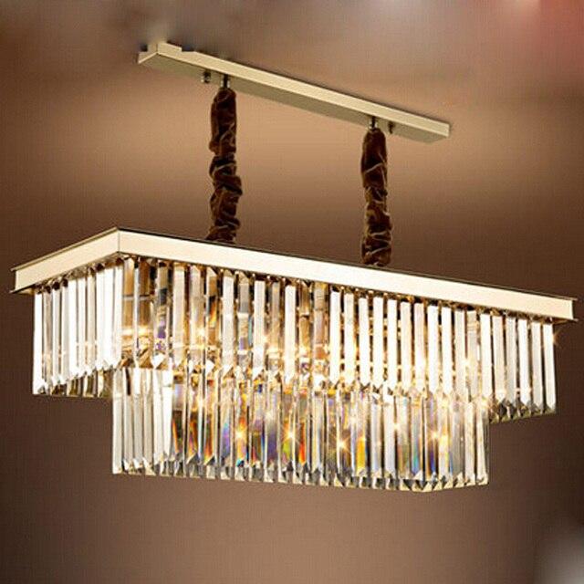 Zyy Modern E14 Crystal Chandelier Rectangle Design