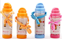 1PC Cute My bottle Children Kids Baby Cartoon Lovely Eco-friendly With lid Hiking Straw Type Plastic Water JA 0002