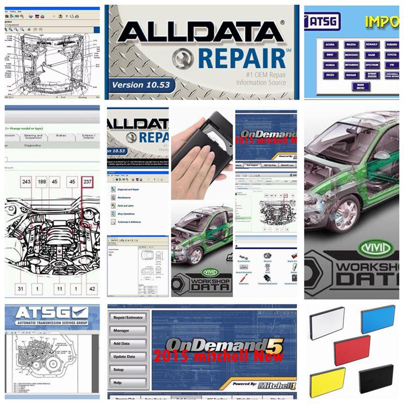 2019 todos os dados de software software de Reparação Automóvel Alldata 10.53 + mitchell ondemand 2015v + dados oficina vivid + ATSG 24in1 1tb hdd usb3.0