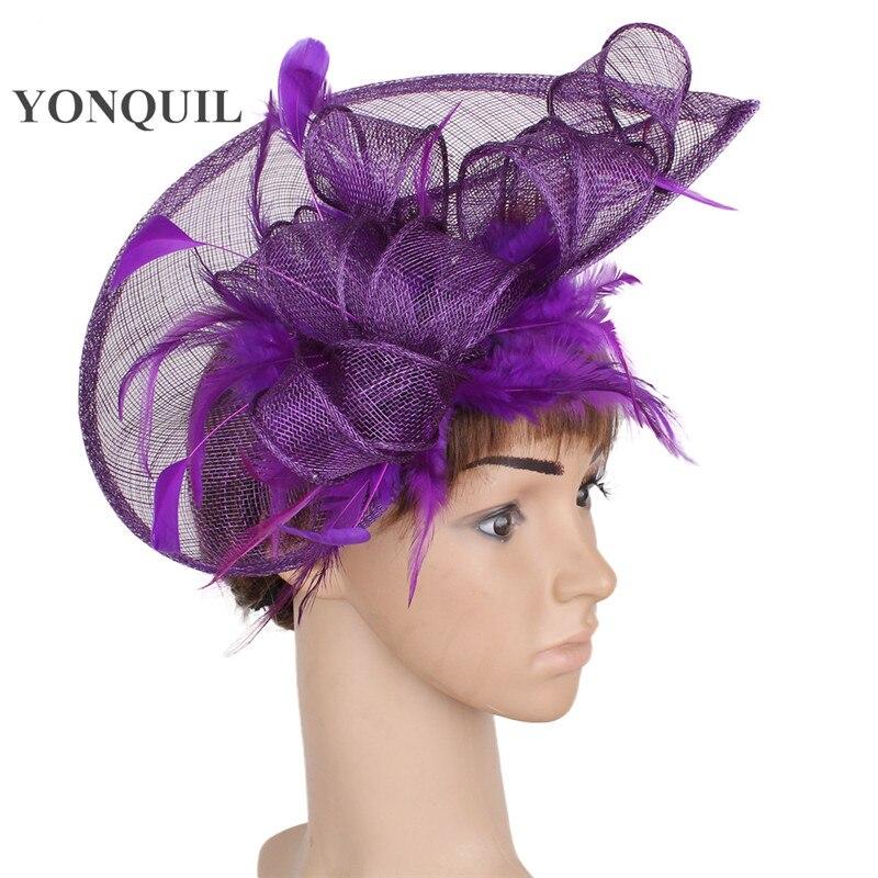 Elegant event blue headpiece loop fascinator hats summer feather headdress sposa hair accessories chapeau millinery hat SYF107 headpiece
