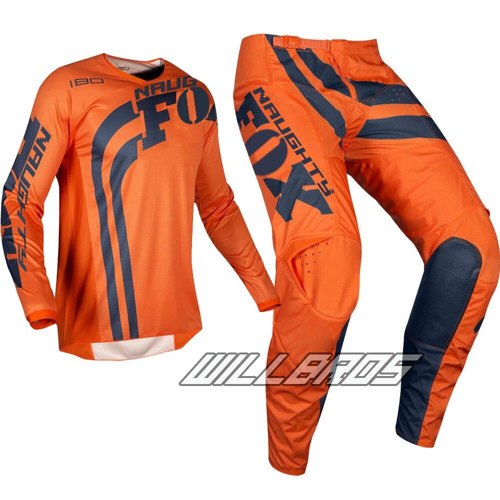 MX 180 Cota Kit de vitesse de Motocross vêtements de course vtt Dirt Bike tout-terrain Orange Jersey & pantalon