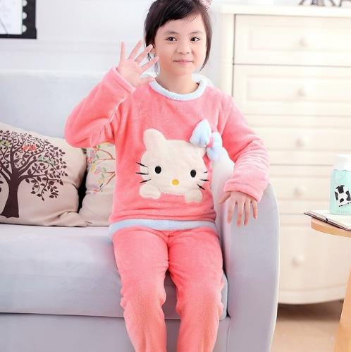 Children Boy Warm Thick Fleece Cartoon Pyjamas Girl long sleeve Sleepwear Suit New Unisex Kids Winter Flannel   Pajama     Sets