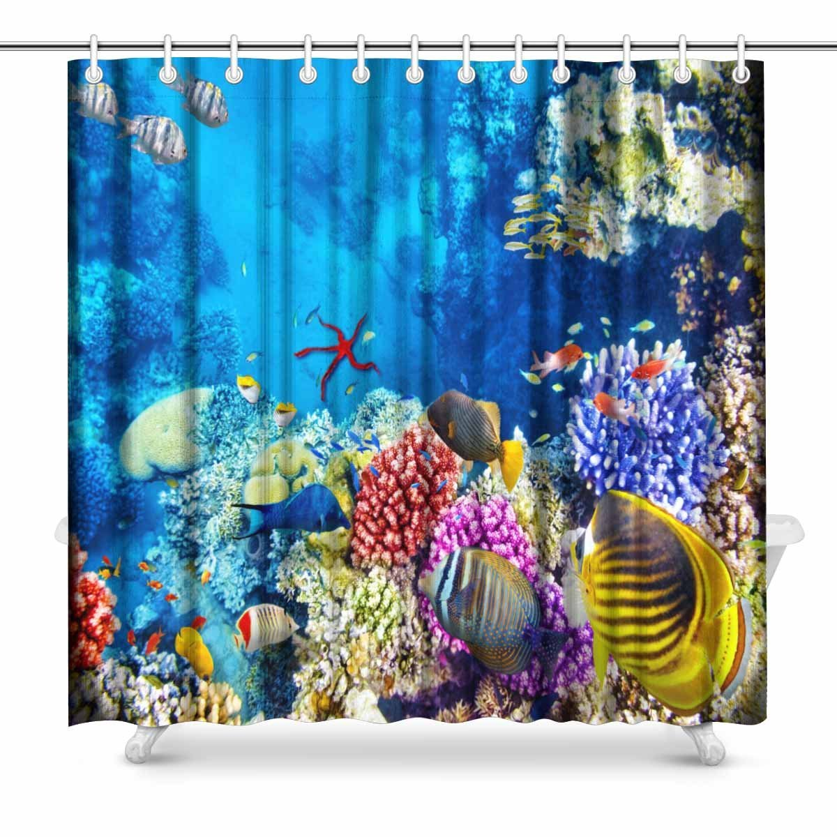 Us 11 7 64 Off Aplysia Wonderful And Beautiful Underwater World With Corals And Tropical Fish Fabric Bathroom Decor Shower Curtains In Shower