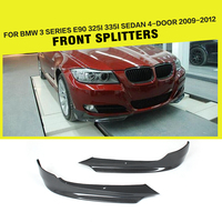 Front Bumper Lip Side Splitters for BMW 325i 335i E90 LCI Sedan 4 Door 2009 2012 Apron Winglets FlapsCarbon Fiber / FRP