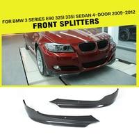Front Bumper Lip Side Splitters for BMW 325i 335i E90 LCI Sedan 4 Door 2009 2012 Apron Winglets FlapsCarbon Fiber / FRP