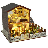 DIY Village Villa Doll House Miniature Wooden Dollhouse Furniture With LED Light Assemble Craft Model Muxic