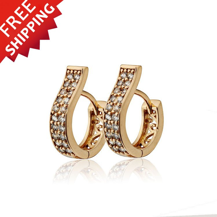 Baby Girls Gold color CC Hoop Earrings For Women CZ Zircons Ouro