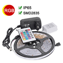Waterproof IP65 RGB LED Strip 2835 SMD DC12V LED Light 5M 300leds With 24Key IR Remote 2A Power Supply Christmas Lamps