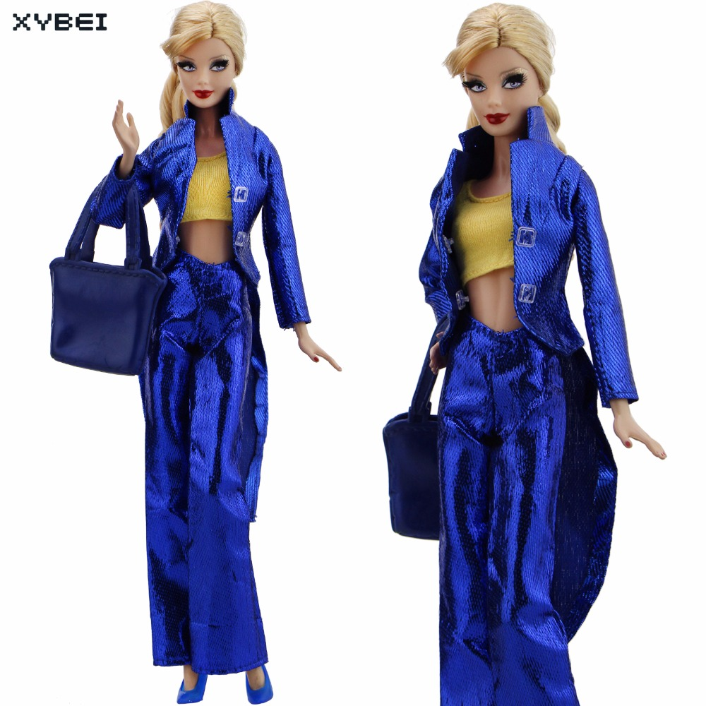 Handmade Cool Outfit Blue Party Stage Costume Long Coat Shirt Trousers Handbag Shoes Clothes For Barbie Doll Accessories Gifts 30 new styles festival gifts top trousers lifestyle suit casual clothes trousers for barbie doll 1 6 bbi00636