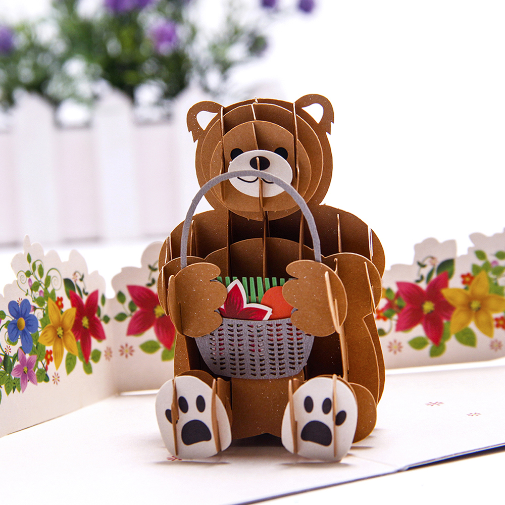 3D Bear Baby Shower Postcards Pop up Handmade Kraft Gift Happy Birthday Kirigami Thank You Greeting Cards