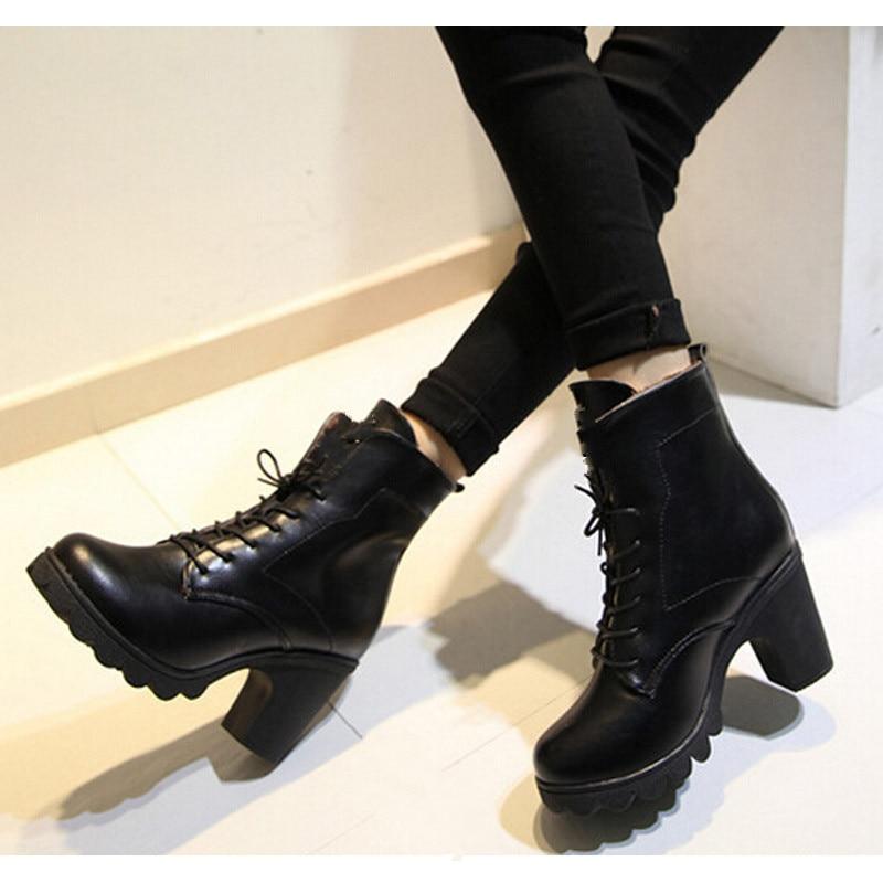 venta caliente barato muy genial buscar oficial Otoño invierno mujeres botas tacón cuadrado con cordones ...