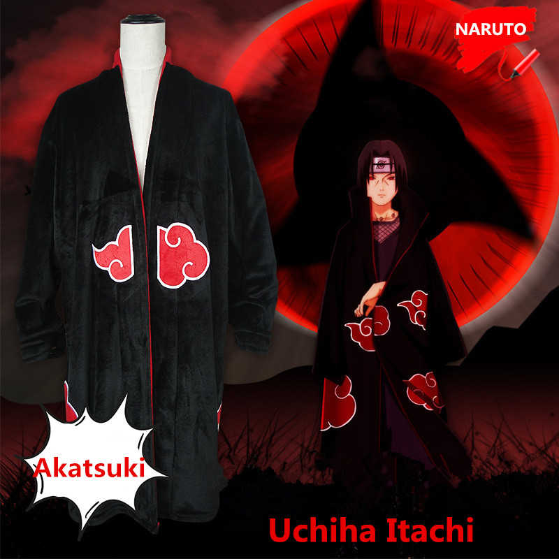 332a8dadfb35 Anime Cartoon Naruto Uchiha Itachi Cosplay Costumes Flannel Pajamas  Akatsuki Bathrobe Women Man Thicken Christmas Jumpsuits