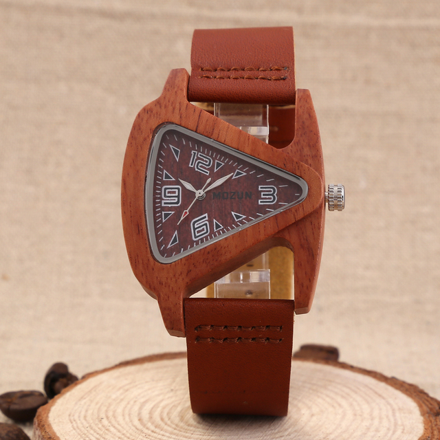 Mens Lady Wood Wrist Watches Genuine Cowhide Leather Strap Clock Man Top Brand L