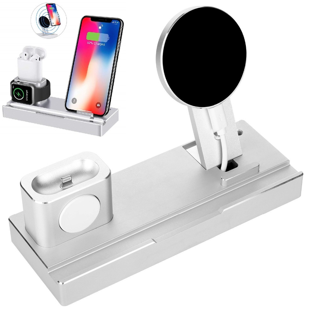6 in 1 Aluminum Charging Dock Stand,Cell Phone Qi Wireless Charger for Apple iPhone XS Max,XR,8P,iPad Pro,iWatch,AirPods, Pencil6 in 1 Aluminum Charging Dock Stand,Cell Phone Qi Wireless Charger for Apple iPhone XS Max,XR,8P,iPad Pro,iWatch,AirPods, Pencil