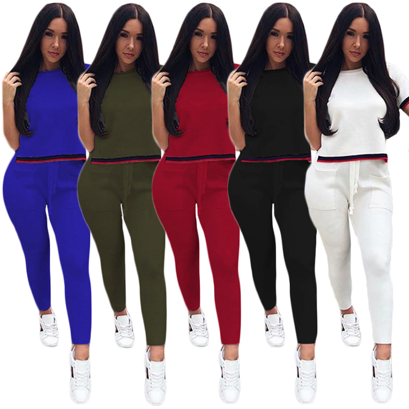 Short Sleeve Top+Long Pants 2 pieces 2018 Spring Summer Fashion Women's Sets Cotton suits casual Beach tracksuit