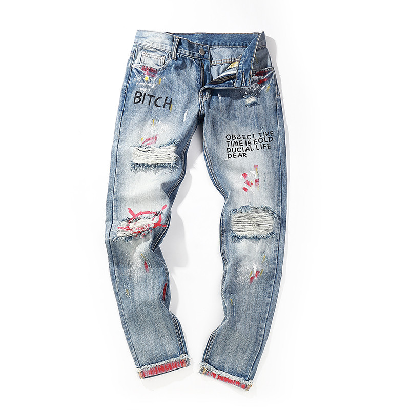 Bebovizi Brand Hip Hop Men Denim Pants Skinny Distressed Jeans New Designer Funny Print Streetwear Destroyed Ripped Jeans