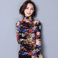 Autumn Winter Cashmere Warm Lace Blouse Slim Shirt Women Tops Fashion Printed Long Sleeve Turtleneck Women