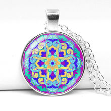 Silver plated mandala necklaces chakra pendant OM jewelry for women glass cabochon pendants Zen gifts vintage jewellery(China)