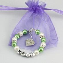 New name Personalised Girl baby Birthday Christmas Gift Charm name Bracelet with bag green
