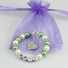New name Personalised Girl baby Birthday Christmas Gift Charm name Bracelet with bag-green