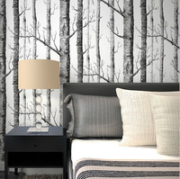 Brich Tree Pattern Non Woven Woods Wallpaper Roll Modern Designer Wallcovering Black And White Wallpaper