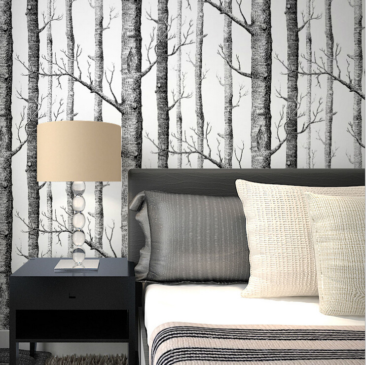 Brich Tree Pattern Non-woven Woods Wallpaper Roll Modern Designer Wallcovering Black And White wallpaper For Living Room wood wall wallpaper birch tree pattern non woven woods wallpaper roll modern designer wallcovering simple papel de parede 3d