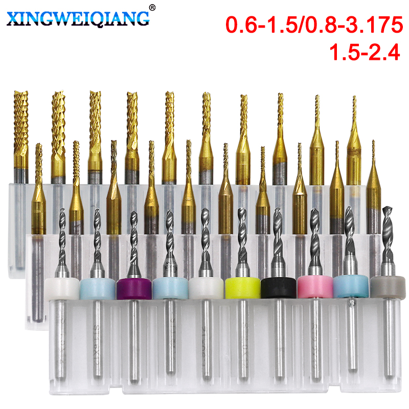 10pcs/set 0.6-3.175mm PCB End Mill Set HSS Flute Milling Cutter Router Bit CNC Mill Drill Bit For Power Tools