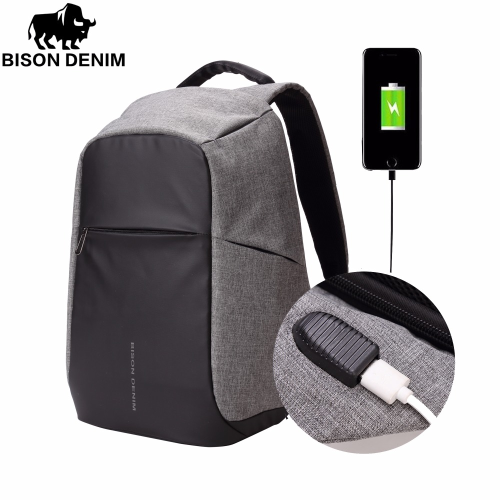 BISON DENIM Men Backpack Anti-theft USB Charge Backpack 14'' 15 inch Laptop Bag School Casual Mochila Waterproof Backpack N2714 14 15 15 6 inch flax linen laptop notebook backpack bags case school backpack for travel shopping climbing men women
