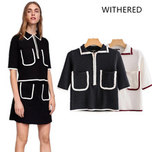 Withered 2018 BTS women sweater england style panelled pockets zipper  regular fashion sweater women tops plus a2d2e1e50314