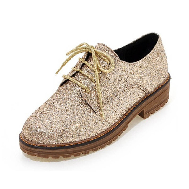 5fc7cb20929 Bling Gitter Creepers Platform Oxfords Shoes Woman Lace-Up Flats Fashion  Casual Women Flat Shoes Plus Size 43 Gold Black Silver
