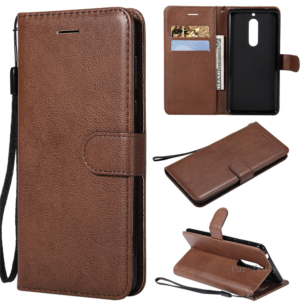 Leather Case on sfor Fundas <font><b>Nokia</b></font> 5 Dual TA-1024 TA-<font><b>1053</b></font> case cover For Coque nokia5 TA <font><b>1053</b></font> Flip Wallet Phone Case TPU Cover image