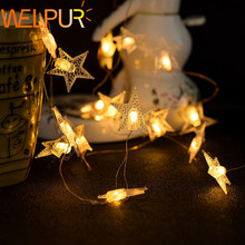цены LED Star String Lights 50LED Battery/USB Operated Fairy String Light Home Party Christmas Wedding Garden Decoration Warm White