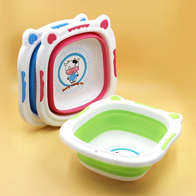 32 * 29 cm Thick Folding Tub Children Bath Baby Washbasin Small Foot Basin Newborn Bathing Supplies