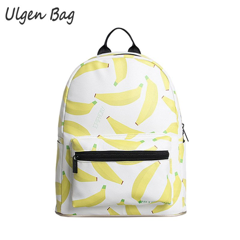 Fashion Girls Banana Printing Women Backpacks Traveling Pratical School Bags Unique Fashion PU Backpack for Teenagers