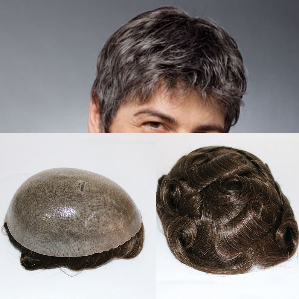 SimBeauty Wholesale Super Durable Skin Mens Toupee With Gray Hair Human Hair Replacement Systems Men's Wigs