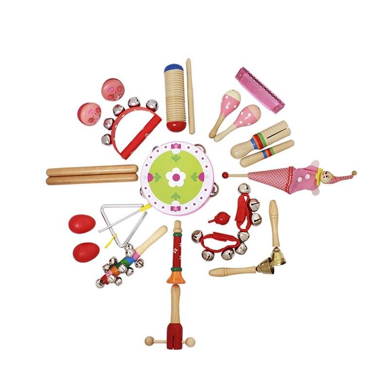 22 pièces/ensemble enfants Instruments de musique ensemble musique éducation jouets bande ensemble bambin en bois Percussion jouet pour les enfants