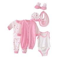 Groothandel 8 stks Katoen Pasgeborenen Baby Jongens Meisjes Ondergoed 0-6 Maanden Baby Kleding Sets Lente Herfst Winter Zuigeling kleding