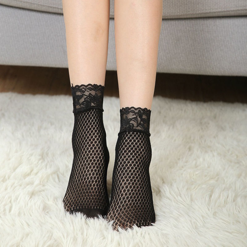 Fashion Lady Girl Lace Floral Hollow Ventilation Socks Net Short Slim For Woman