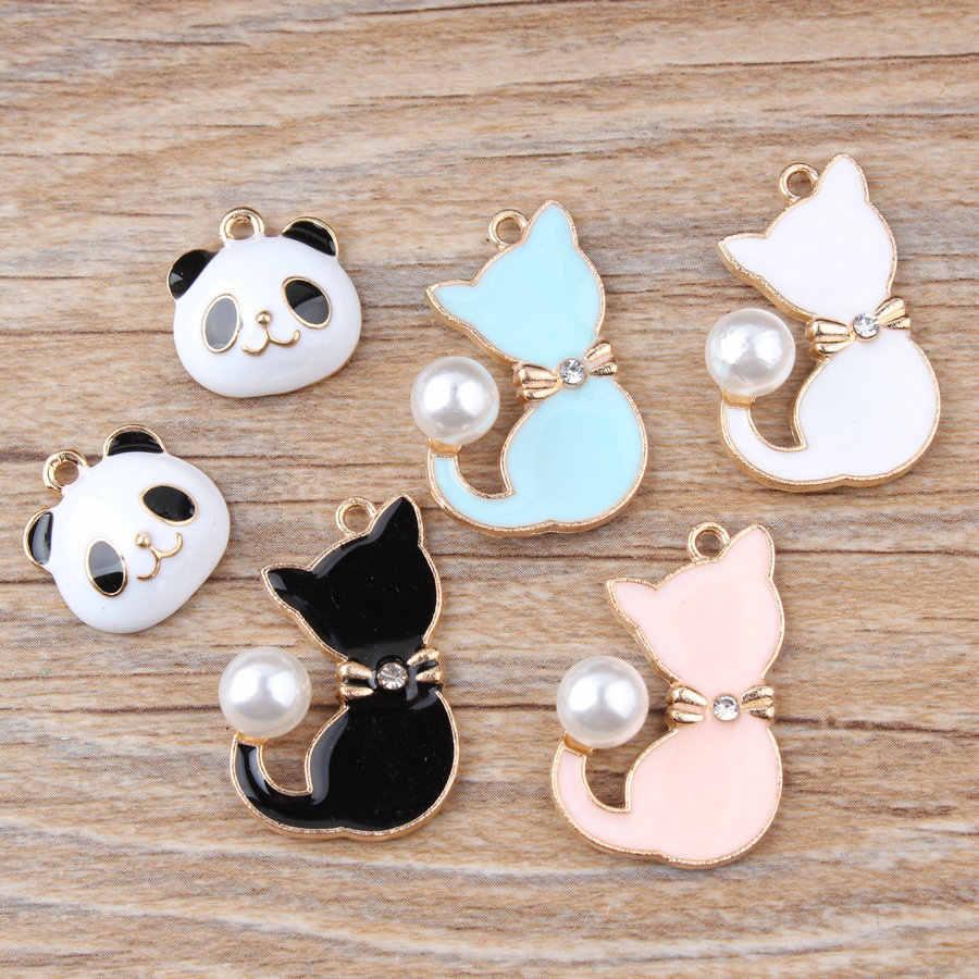 Diy อุปกรณ์เครื่องประดับ Gold จี้สร้อยข้อมือจี้อุปกรณ์เสริม Panda หัวไข่มุก Tail Cat Charms สำหรับเครื่องประดับทำ