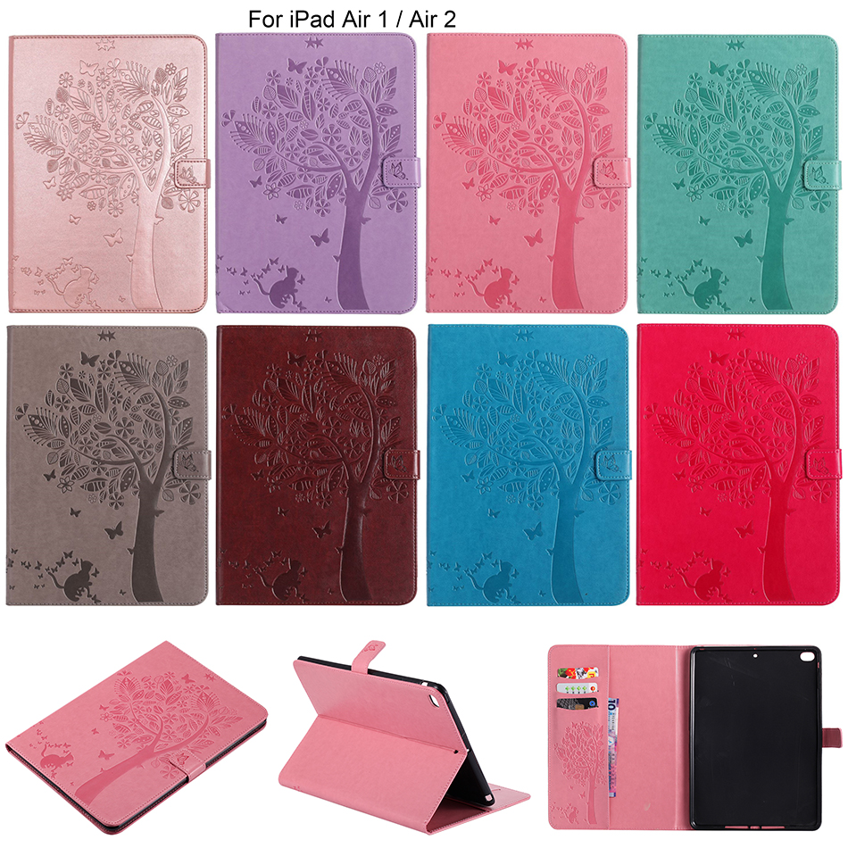 Cat & Tree Pattern Magnetic Wallet Flip PU Leather Case For iPad Air iPad 5 Tablet Cover With Card Slot For iPad6 Air 2 9.7 inch