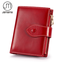 Jamarna Wallet Female Women Wallets Soft Genuine Leather Card Holder Women Wallets Coin Purse Red Oil
