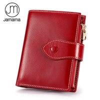 Jamarna Wallet Female Women Wallets Soft Genuine Leather Card Holder Women Wallets Coin Purse Red Oil