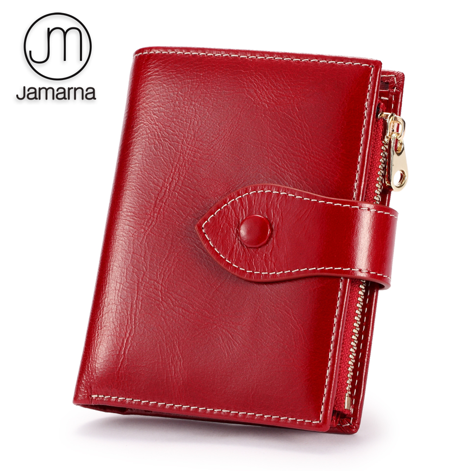 Jamarna Wallet Female Women Wallets Soft Genuine Leather Card Holder Women Wallets Coin Purse Red Oil Wax Gift Package