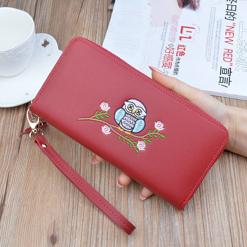 Woman 39 s wallet Long Purses Tassel Coin Purse Card flower Holder Female Quality embroidery Clutch Money Bag Leather Wallet 483 in Wallets from Luggage amp Bags