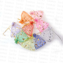 100 PCS Whosale Adjustable Jewelry Packing Gold Color Heart European Root Yarn bag 7x9cm,Wedding Gift Bags & Pouches