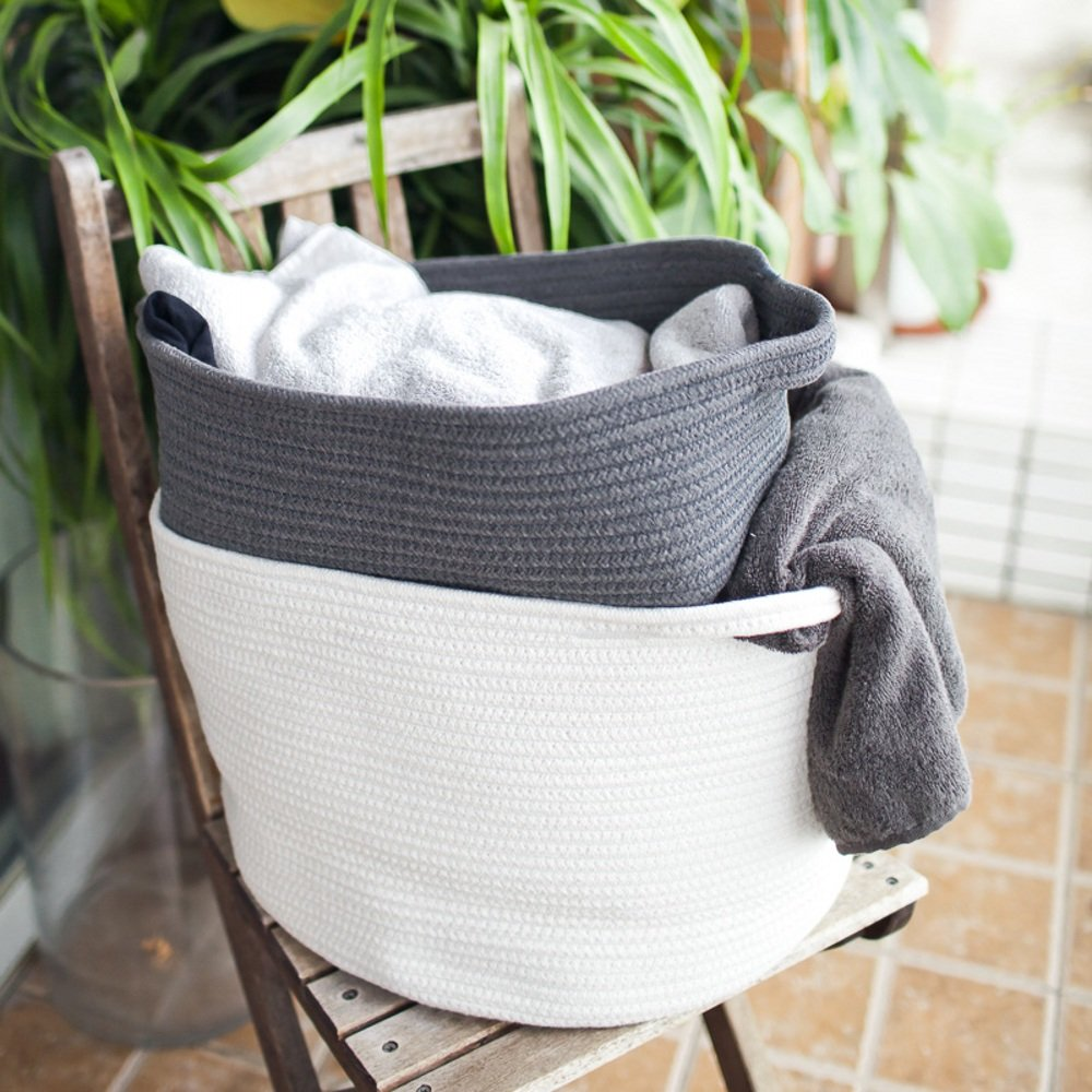 Large Cotton Rope Storage Baskets With Handles Soft Durable Toy Storage Nursery Bins Home Decorations White