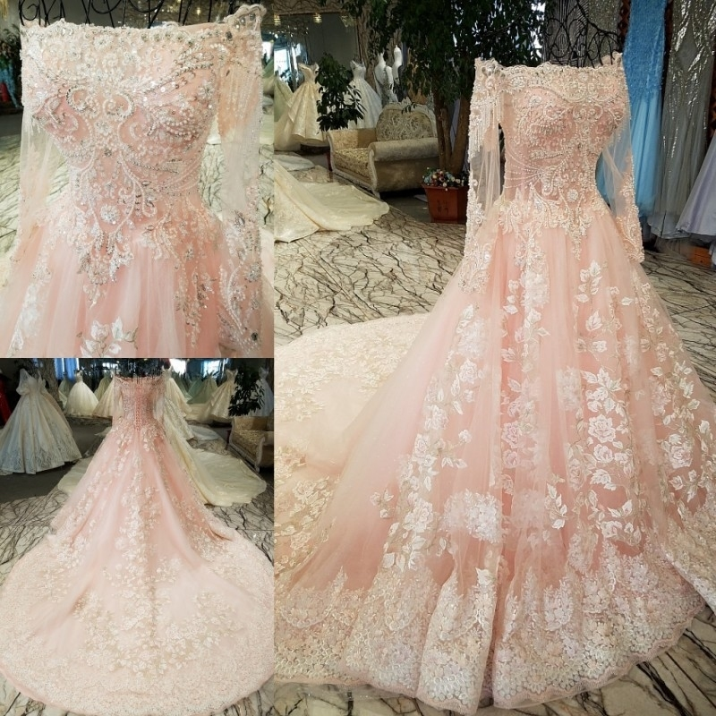 Full Ball Gown Wedding Dresses: Pink Boat Neck Ball Gown Full Sleeve Wedding Dress Long