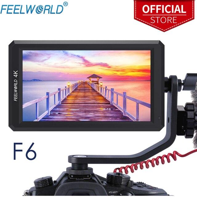"""FEELWORLD F6 5.7 """"na monitorze aparatu DSLR 1920X1080 4K HDMI ustawianie ostrości ostrości ultra cienki z wyjściem mocy ramienia pochylenia"""